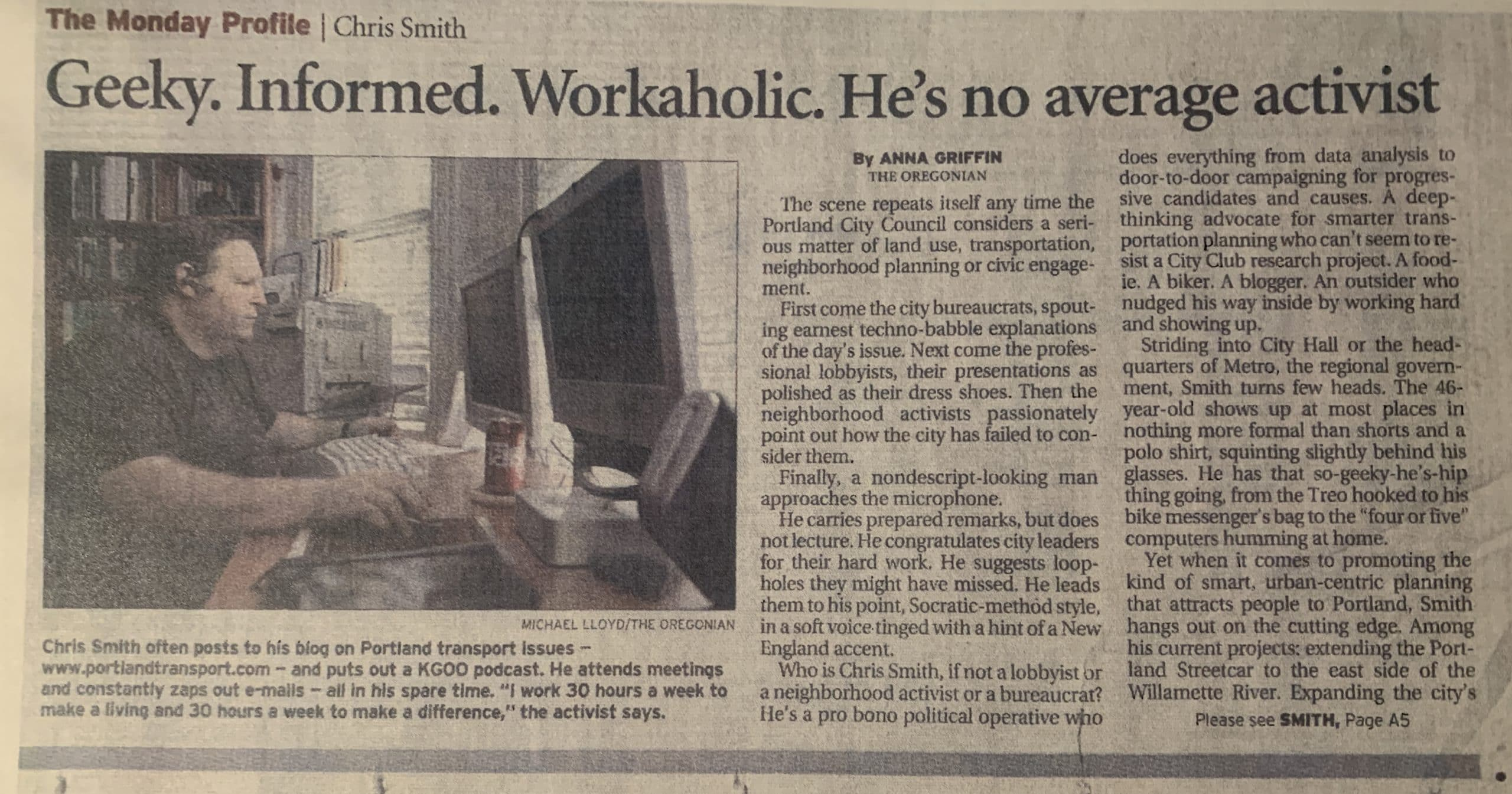 """""""Chris Smith Geeky. Informed. Workaholic. He's no average activist"""""""