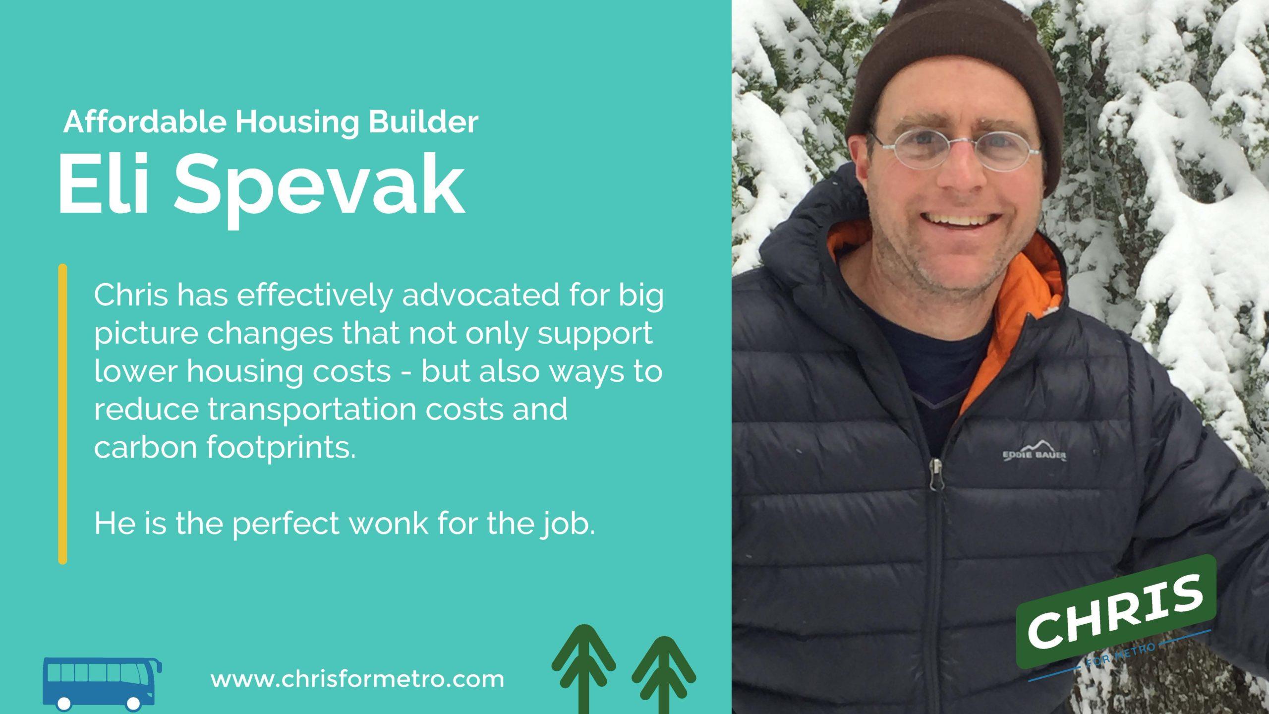 Eli Spevak Endorsement
